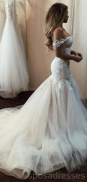 Off Shoulder Lace Mermaid Wedding Dresses Online, Cheap Beach Bridal Dresses, WD473
