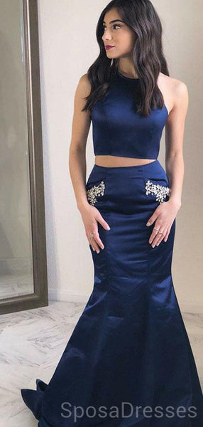 Navy Halter Two Pieces Mermaid Long Evening Prom Dresses, Cheap Custom Sweet 16 Dresses, 18459
