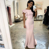 Popular Pale Pink Cheap Mermaid Long Bridesmaid Dresses Online, WG550