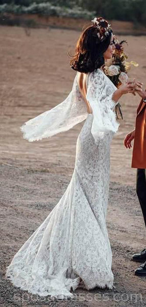 Sexy Backless Long Sleeves Mermaid Long Wedding Dresses Online, Cheap Bridal Dresses, WD538