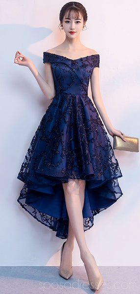 Off Shoulder High Low Navy Lace Cheap Homecoming Dresses Online, Cheap Short Prom Dresses, CM797