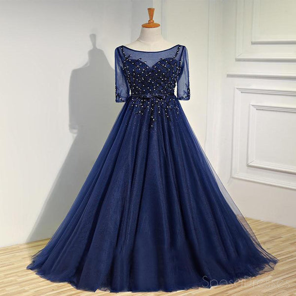 Sexy See Through Long Sleeve Navy Lace Beaded Long Evening Prom Dresses, Popular Cheap Long 2018 Party Prom Dresses, 17231