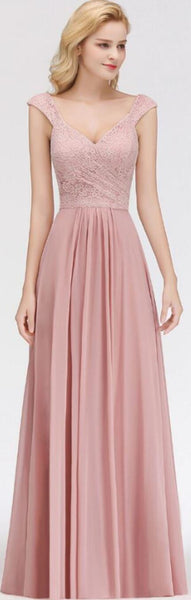Blush Pink Lace Floor Length Mismatched Chiffon Bridesmaid Dresses Online, WG542