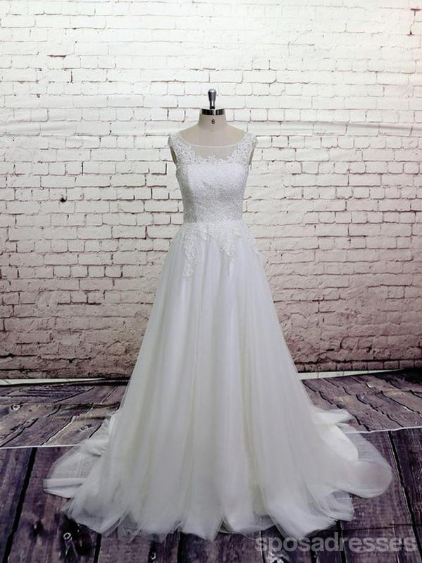 Cheap Lace Straps Scoop Tulle A-line Wedding Dresses Online, WD370