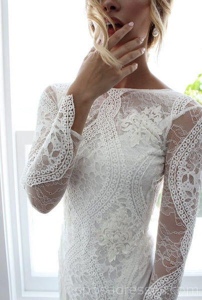Long Sleeves Lace Mermaid Long Wedding Dresses Online, Cheap Bridal Dresses, WD532