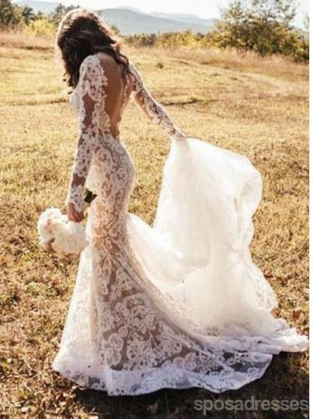 Long Sleeves Backless Lace Mermaid Long Wedding Dresses Online, Cheap Bridal Dresses, WD534