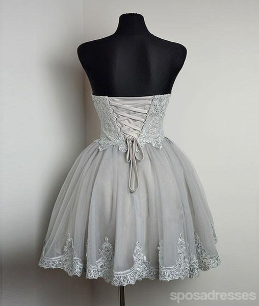 Strapless Gray Lace Tulle Homecoming Prom Dresses, Cheap Short Prom Dresses, CM350