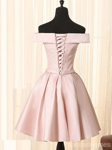 Off Shoulder Pink Cheap Short Homecoming Dresses Online, CM604