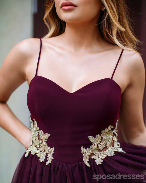 Halter Burgundy Gold Lace Applique Short Homecoming Dresses Online, CM638