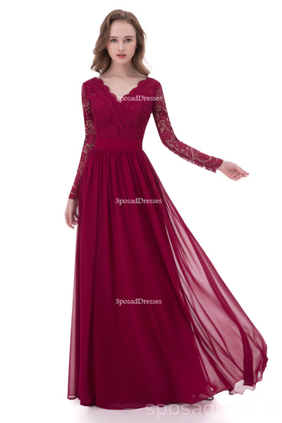 Long Sleeve Lace Dark Red Custom Long Bridesmaid Dresses, BD116