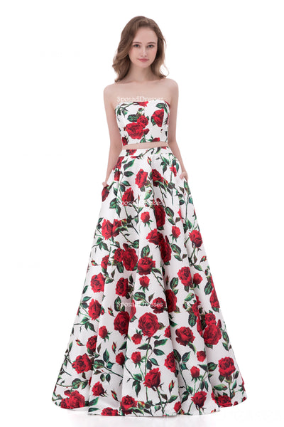 Sexy Two Pieces Simple Strapless Printed Flower Long Evening Prom Dresses, Popular Cheap Long 2018 Party Prom Dresses, 17253