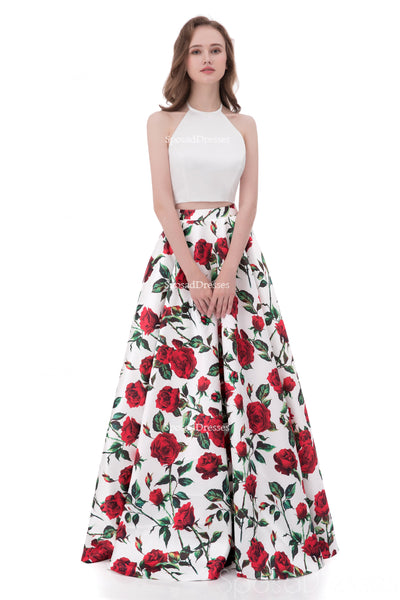 Simple Halter Printed Flower Sexy Two Pieces Long Evening Prom Dresses, Popular Cheap Long 2018 Party Prom Dresses, 17256