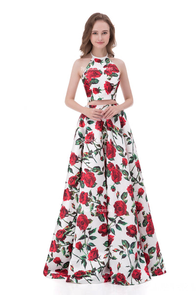 Sexy Two Pieces Simple Halter Printed Flower Long Evening Prom Dresses, Popular Cheap Long 2018 Party Prom Dresses, 17254
