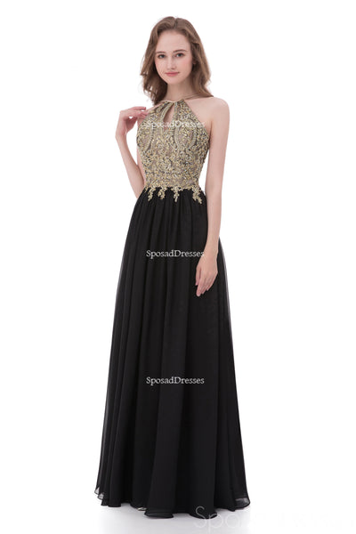 Sexy Backless Halter Lace Beaded Black Long Evening Prom Dresses, Popular Cheap Long 2018 Party Prom Dresses, 17258