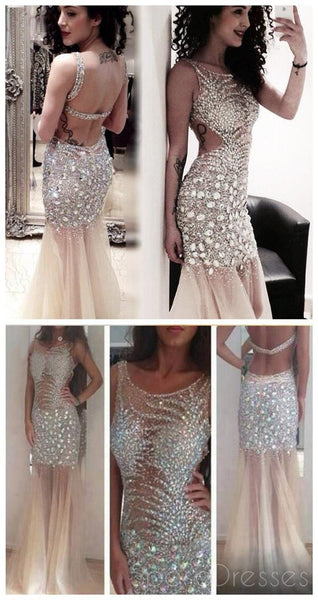 Sparkly Rhinestone Tulle Mermaid Long Prom Dresses , PD0102