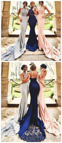 Sexy Halter Lace Mermaid Bridesmaid Dresses, Custom Bridesmaid Dresses, PD0012