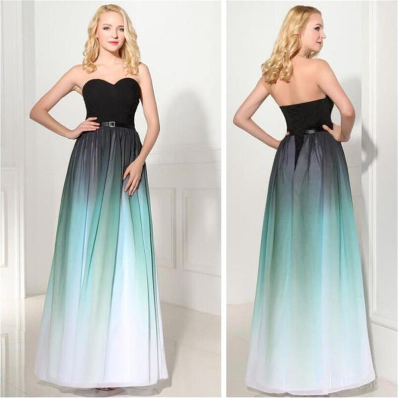 Strapless Prom Dress,Gradient Prom Dress,Cheap Prom Dress ,Chiffon ...