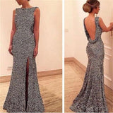 Backless Prom Dresses,Side Slit Prom Dresses,silver Prom Dresses ,Sexy Prom Dresses,New Arrival Prom Dresses ,Evening Dresses,Long Prom Dress,Prom Dresses Online, PD0142