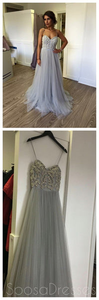 Cheap Spaghetti Straps Grey Beaded Prom Dresses, Cheap Tulle Prom Dresses,PD0166