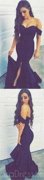 Sexy Off shoulder Navy Prom Dresses, Side Slit Mermaid Prom Dresses, PD0168