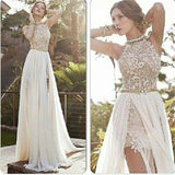 2017 Sexy Lace Backless Long Chiffon Prom Dresses, High Neckline Halter Side Slit Prom Dresses, Evening Party Prom Dresses, PD0018