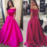 A line Hot Pink Off Shoulder Prom Dresses ,Simple Prom Dresses, Cheap Prom Dresses,PD0188
