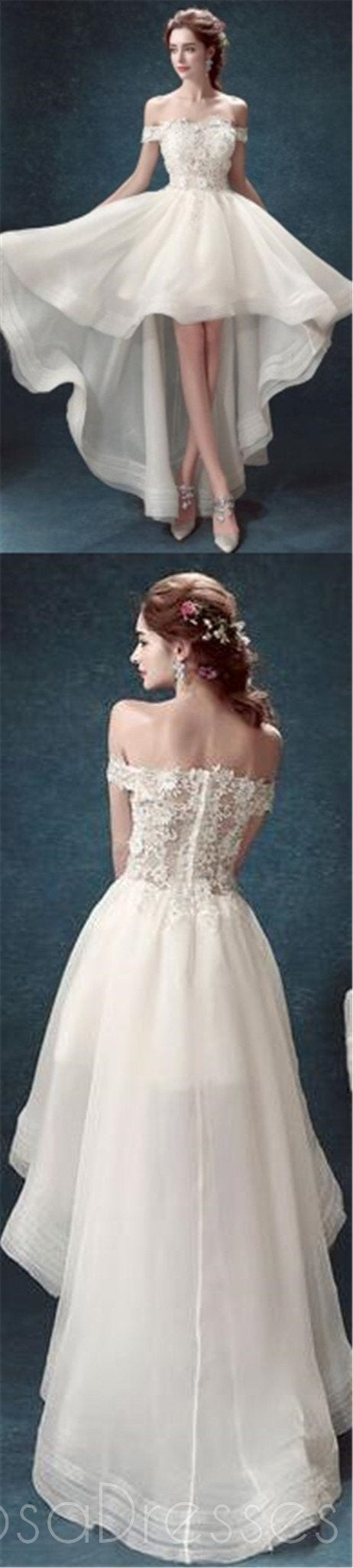 High Low Wedding Dresses,Off Shoulder Prom Dresses,White Organza Prom Dresses,PD0197