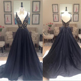 Black A-line Elegant Deep V-Neck Prom Dresses, Black Long Evening Party Dresses, PD0198