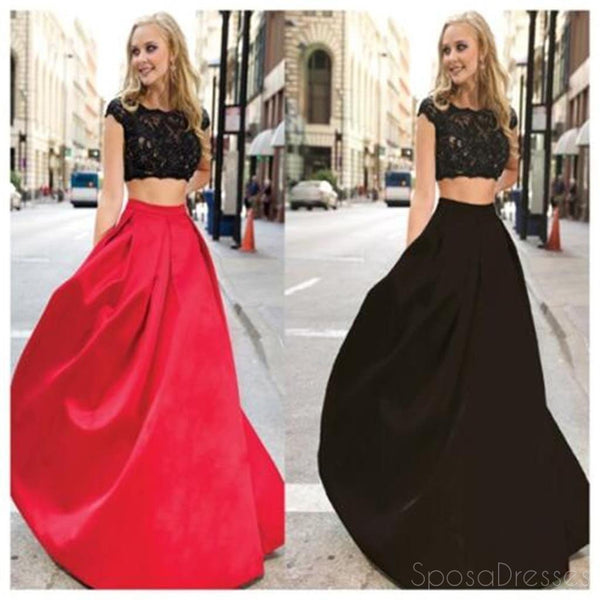 335343dec991 Long Prom Dress, Two Pieces Prom Dress, Simple Prom Dress, Red and Black