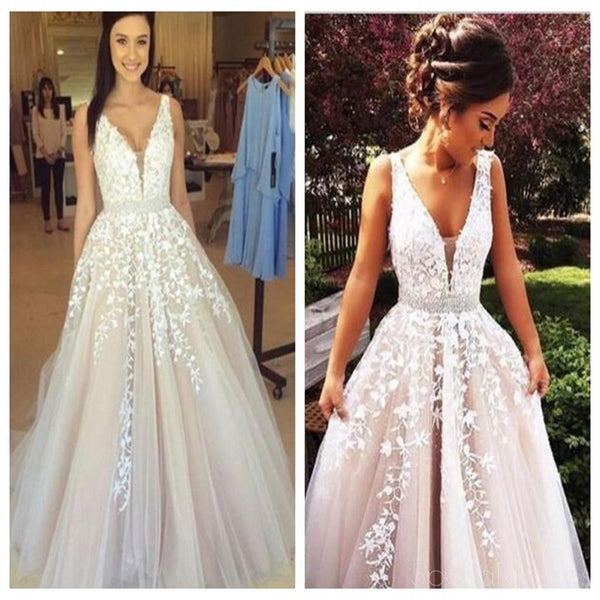 Simple Elegant Long Sleeve V Neck A Line Lace Top Satin: Off Shoulder Lace Prom Dress, A Line Prom Dresses, Newest
