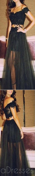 Black Prom Dresses, Off Shoulder  Prom Dresses,Tulle Long Prom Dresses,Two Pieces Prom Dresses,Party Prom Dresses,Evening Prom Dresses,Prom Dresses Online,PD0081