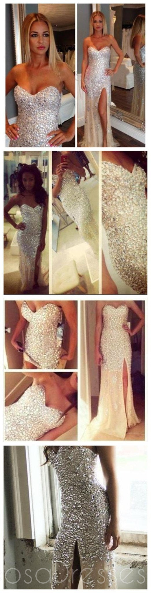 2017 Sexy Long Mermaid Rhinestone Evening Prom Dresses, PD0098