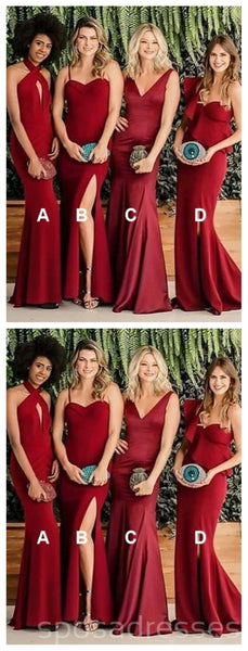 Burgundy Mermaid Long Mismatched Cheap Bridesmaid Dresses Online, WG278