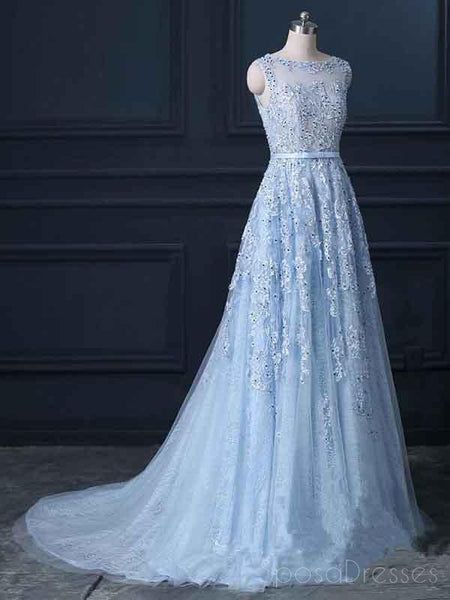 Sexy Backless Blue Lace Beaded Illusion A-line Long Evening Prom Dresses, 17664