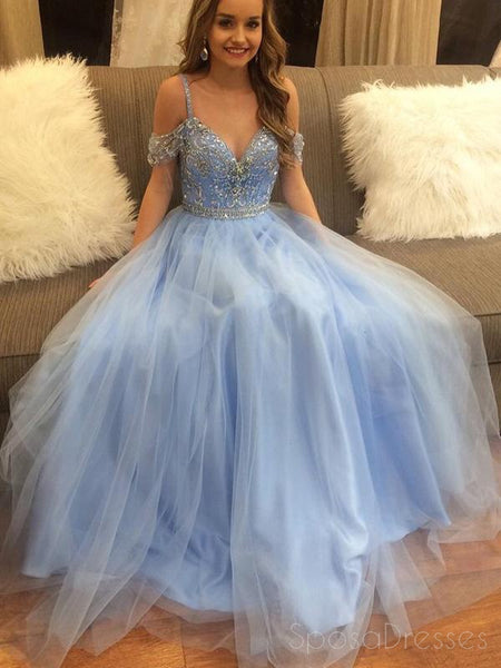 Off Shoulder Beading Blue A-line Custom Long Evening Prom Dresses, 17384