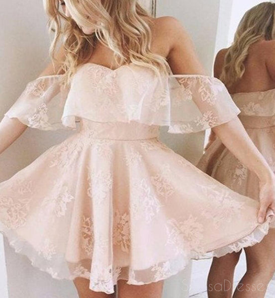 Strapless Off Shoulder Lace Short Homecoming Prom Dresses, Affordable Short Party Prom Sweet 16 Dresses, Perfect Homecoming Cocktail Dresses, CM375
