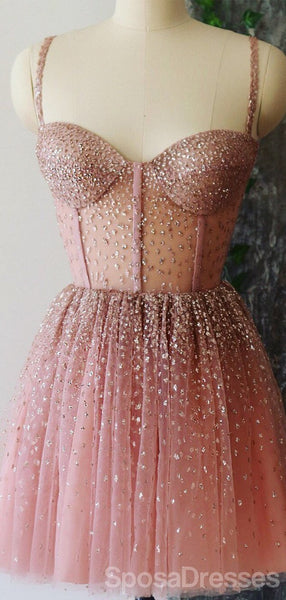 Straps Rhinestone See Through Dusty Pink Homecoming Dresses Online, Cheap Short Prom Dresses, CM819