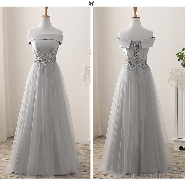 Lace Grey Mismatched Styles Chiffon Floor-Length Formal Long Bridesmaid Dresses, Affordable Custom Long Bridesmaid Dresses BD18001