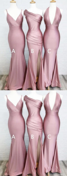 Simple Dusty Rose Cheap Mermaid Long Bridesmaid Dresses Online, WG548