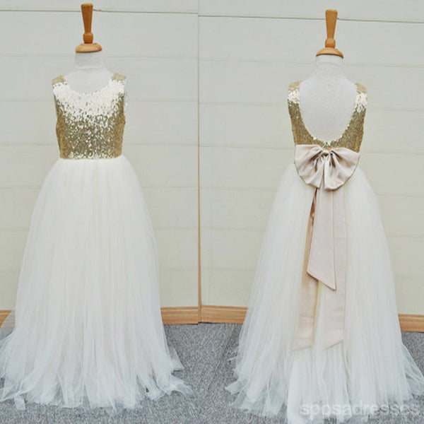Gold Sequin Top White Tulle Cute Flower Girl Dresses For Wedding Party, FG002
