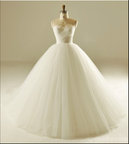 Strapless A line Tulle Wedding Dresses,  2017 Simple Long Custom Wedding Gowns, Affordable Bridal Dresses, 18001