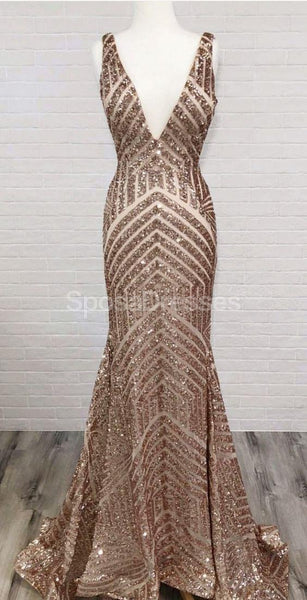 Sexy Backless Sequin Mermaid Long Evening Prom Dresses, Evening Party Prom Dresses, 12221
