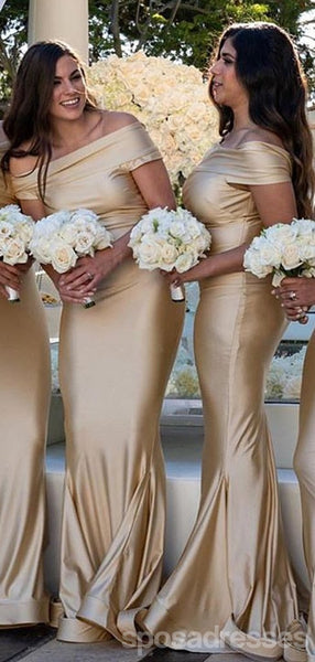 Champagne Gold Off Shoulder Mermaid Floor Length Cheap Bridesmaid Dresses Online, WG566