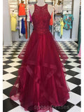 Halter Lace Red Ruffle Long Evening Prom Dresses, Cheap Custom Party Prom Dresses, 18597