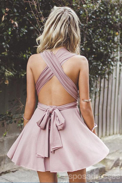 Simple V Neck Dusty Pink Short Homecoming Dresses Under 100, CM382