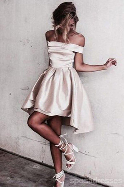 Satin Off Shoulder Short Homecoming Dresses Under 100, CM388