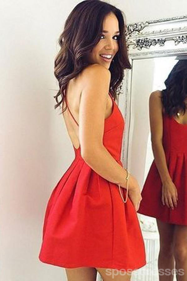 Red Backless Short Cheap 2018 Homecoming Dresses Under 100, CM394