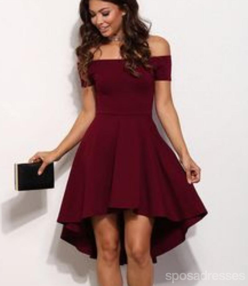 Off Shoulder Burgundy Cheap 2018 Homecoming Dresses Under 100 Cm396