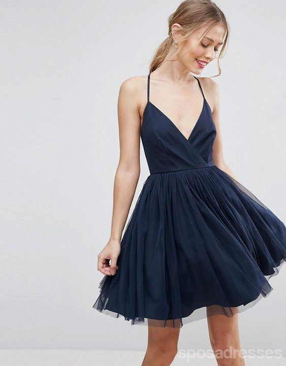 Navy Halter Blue Cheap 2018 Homecoming Dresses Under 100, CM404