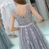 V Neck Grey Tulle A-line Evening Prom Dresses, Evening Party Prom Dresses, 12108